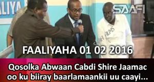Faaliyaha 01 02 2016 Qosolka Abwaan Cabdi Shire Jaamac oo ku biiray baarlamaankii uu caayi jiray